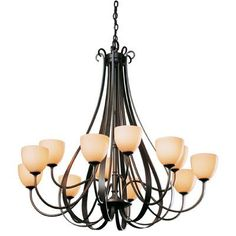 Hubbardton Forge 12 Light Shaded Chandelier Finish: Dark Smoke, Shade Color: Pearl