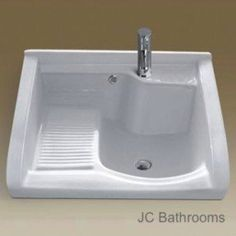 -Ceramic Laundry Sink With Washboard Laundry Tubs, Laundry Room Sink, Laundry Room Remodel, Basement Laundry, Laundry Room Design, Small Laundry Sink, Laundry Room Utility Sink, Small Sink, Küchen Design