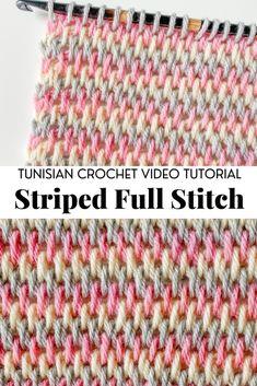 Tunisian Crochet Blanket, Tunisian Crochet Patterns, Tunisian Crochet Stitches, Crochet Stitches For Beginners, Crochet Videos, Crochet Basics, Crochet Yarn, Knitting Stitch Patterns, Different Crochet Stitches