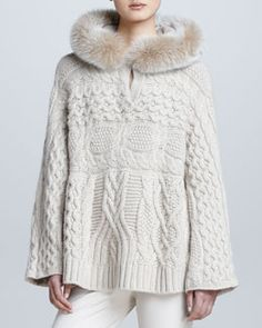 Cable-Knit Fur-Hooded Cashmere Cape