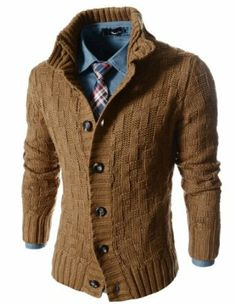 TheLees Slim Fit Turtle Neck Knitted 7 Button Pattern Cardigan