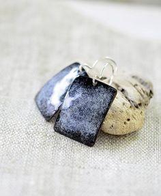 Big rectangular earrings  black and light blue enamel by alery
