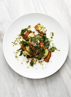 Kale Pecan Pesto. The combination of toasted buttery pecans, earthy kale, and spicy garlic is too much to resist. Swap sweet potatoes for delicata squash for lower carbs.