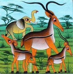 (Tinga Tinga) Gazelles and Elephant. Oil on canvas. Animal Outline, African Wall Art, East Africa, African Fabric, Fabric Art, Nice Things, Elephants, Acrylics, Folk Art