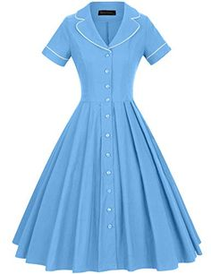 GownTown Women's 1950s Vintage Short Sleeves Notch Lapel Swing Dress 1950s Fashion Women, 1950s Fashion Dresses, Vintage Dresses 50s, Vintage Shorts, Fashion Outfits, 1950s Dresses, Shirtwaist Dress, Dress Out, Curtido