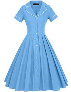 GownTown Women's 1950s Vintage Short Sleeves Notch Lapel Swing Dress 1950s Fashion Women, 1950s Fashion Dresses, Vintage Dresses 50s, Vintage Shorts, Fashion Outfits, 1950s Dresses, Style Fashion, Shirtwaist Dress, Dress Out