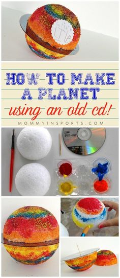 Have a school project or teaching planets and need a fun activity? Use an old CD… Have a school project or teaching planets and need a fun activity? Use an old CD and make a planet with a small ball! So easy and fun! Space Projects, School Projects, Projects For Kids, Crafts For Kids, School Ideas, Outer Space Crafts, Outer Space Theme, Planet Crafts, Planet Project