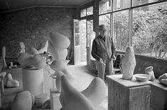 Hans Arp in his studio in Meudon. Image by Ernst Scheidegger