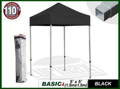 New Eurmax Basic Ez Pop up Canopy Tent Gazebo with Carry Bag(5x5feet, Black) by eurmax. $159.95. Fabric:400D polyester 95% UV pretection, CPAI-84 fire retardant certification. Including:Frame+Carry Bag+ Top Cover+Accessories. Package:8.6'' x 9.5'' x57.5'' Weight 40 LBS. frame Outer Leg:1.14'' x1.14'' Truss Bar:0.4'' x 0.87''. 5 feet length x 5 feet width instant shelter, Sets up in seconds , Fold up 55inch. long - fits in most trunks , Ideal for commercial or recreational...
