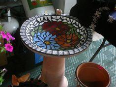 Large mosaic bird bath by luv mosaic