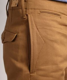 Inspiration for pocket detail ~ RRL 'Officer's Chino Selvage' pants. Fashion Pants, Mens Fashion, Men Trousers, Men's Pants, Tailored Trousers, Mode Inspiration, Fashion Details, Men Dress, Menswear