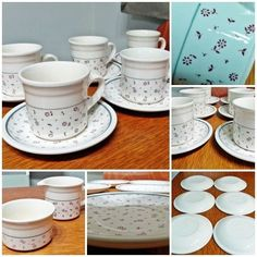 6 x Cups & Saucers Milk Jug Sugar Bowl - Biltons Red Flowers Vintage FREE P&P