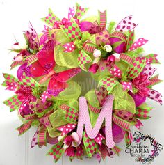Lovely custom order apple green & hot pink #decomesh wreath by www.southerncharmwreaths.com