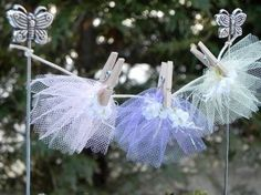 Fairy Garden Clothesline. Tulle makes great fairy skirts, which look super cute hanging in your fairy garden.