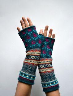 Bohemian Fingerless Gloves Long Turquoise Fingerless by lyralyra