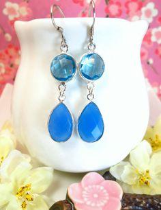 Aqua blue quartz and blue chalcedony sterling silver bezel earrings, blue bezel framed dangle earrings, Blue ice crystal earrings