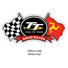 """Isle of Man TT Road Races sticker with a chequered flag and the """"Three Legs of Mann"""" flag"""