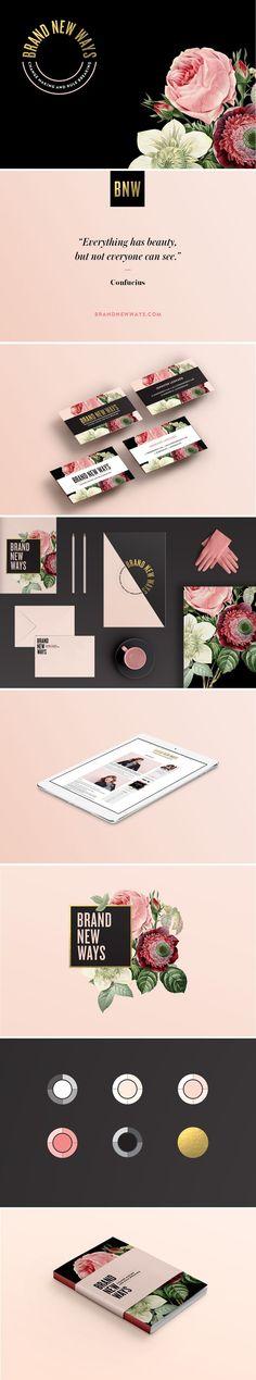 Branding, brand board, floral branding, pink, black
