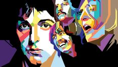 """THE BEATLES Mick Jagger. In the early sixties, Rolling Stones frontman Mick Jagger called the Beatles """"The Four-Headed Monster"""" because they always dressed the same, had similar haircuts, and were shown close together often. Kunst Picasso, Art Picasso, Beatles Art, The Beatles, Portraits Pop Art, Pop Art Wallpaper, Wallpaper Pictures, Art Pictures, Modern Pop Art"""