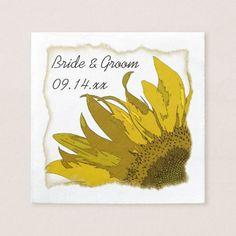 Yellow Sunflower Corner Wedding Paper Napkin