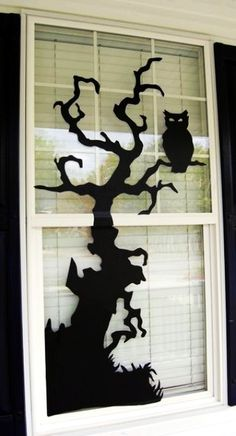 ghost and witch window silhouettes decoration 2015 Halloween - bats - LoveItSoMuch.com