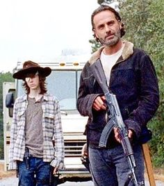 "Carl Grimes and Rick Grimes in 6.16: ""Last Day on Earth.""  #TWDFinale"