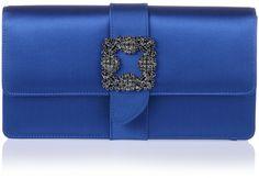 Manolo Blahnik Capri royal blue satin clutch on shopstyle.co.uk