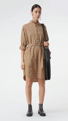 Abito chemisier in cotone con motivo tartan e cintura (Giallo Antico) -  Donna  35d2cbeb3ce