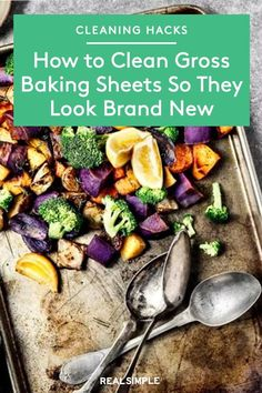 How to Clean Gross Baking Sheets So They Look Brand New | After some research and testing, one of our editors found a cleaning hack to clean a baking sheet that really works—if you're willing to put in the elbow grease. Here's how to clean baking sheets, so they look shiny and new. #cleaningtips #cleanhouse #realsimple #stepbystepcleaning #cleaninghacks #cleaningguide