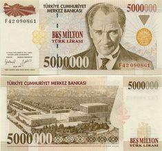Turkey 5 Million Lira 1997 President Mustafa Kemal Atatürk; Bank Account Balance, Turkish Lira, Old Money, Central Bank, Saving For Retirement, Educational Websites, Nostalgia, Turkey, Painting