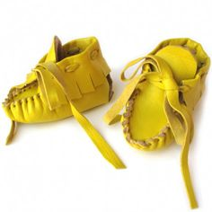 little yellow mocs with ties