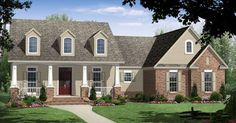 House Plan 59104   Country Craftsman European Traditional Plan with 1800 Sq. Ft., 3 Bedrooms, 2 Bathrooms, 2 Car Garage at family home plans Front Elevation, Elevation Plan, Covered Porches, Country Farmhouse, Low Country, Country Homes, Country Style House Plans, European House Plans, European Plan