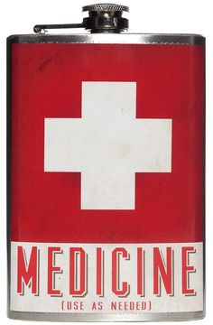 """MEDICINE FLASK  It's never a bad time to take your medicine with the """"Medicine Flask"""" from Trixie & Milo. This stainless steel flask features a vintage styled white cross on a red background, above """"Medicine"""" printed on a waterproof vinyl label. Holds up to 8 oz. of your favorite tincture to soothe a long day. $26.00 #flask #medicine"""