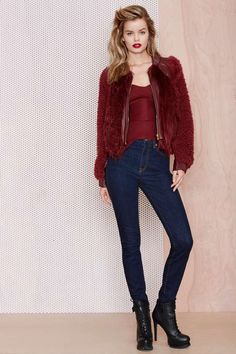 This look is flawless. The rock chic look is definitely my favorite and I can't wait until it's cold enough for that delicious jacket.   :Three Floor Rosso Faux Fur Jacket - Jackets | Faux Fur | Clothes | All | Faux Fur-ever | Three Floor | The Raging Rebel | Three Floor | Clothes |  | Jackets + Coats