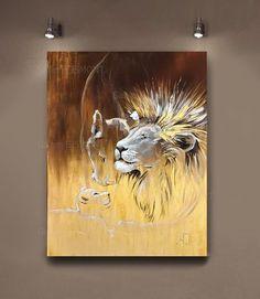 Interior Paint, Lions, Moose Art, Canvas, Animals, Painting, Etsy, Decor, Style