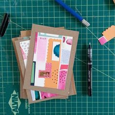 """Katie Licht writes;  """"finishing up my #diypostcardswap postcards this drizzly day."""""""