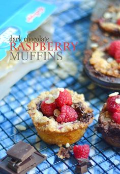Dark Chocolate Raspberry Muffins made with Rice Krispies. These are gluten-free with a crisp crumble topping. They sure don't look like much but don't be fooled, these muffins are AMAZING! #FueledForSchool #ad