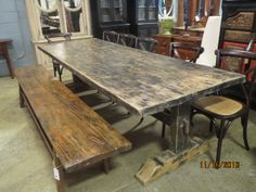 Black Tressle Table, Bentwood Side Chairs (Birch Finish), Chinese Vintage Elm Console- FIND these items in store