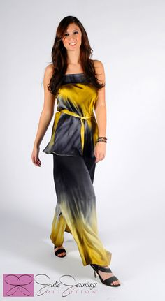 Ombre gold to black on two pieces, a wide leg pant and a strapless top, painted on the bias for a full swing. Hand painted silk, made to order, one of a kind women's fashion,
