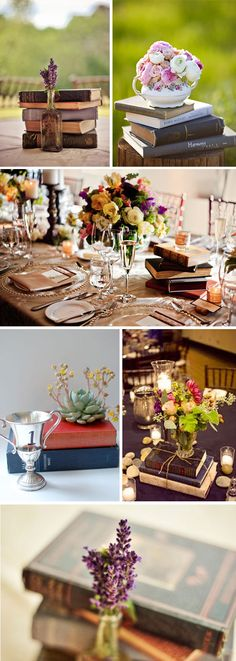 Antique book centerpieces