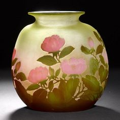 Buy online, view images and see past prices for EMILE GALLEVASE, ca. green glass with pink and green overlay and etchi. Invaluable is the world's largest marketplace for art, antiques, and collectibles. Art Nouveau, Art Of Glass, Vases, Weaving Art, Objet D'art, Glass Collection, French Art, Pottery Art, Pink