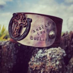 ANGELS LOVE OUTLAWS vintage leather belt cuff by DirtRoadGirls, $42.00