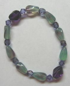 Items similar to Mint Green and Amethyst Bracelet and Earrings Set on Etsy Amethyst Bracelet, Turquoise Bracelet, Diy Jewelry, Jewellery, Mint Green, Earring Set, Purple, Blue, Swarovski Crystals