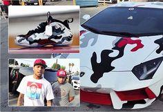 Chris Brown manda pintar Lamborghini de R$ 3 milhões com mesma estampa de seu tênis favorito - Fotos - R7 Carros
