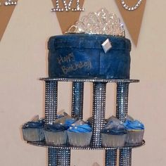 Denim and Diamonds cake and cupcakes