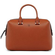 MCM Ella Boston Leather Bowler Bag ($695) ❤ liked on Polyvore featuring bags, handbags, apparel & accessories, mcm handbags, brown leather purse, leather satchel handbags, satchel handbags and brown satchel handbag