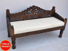 French Indian Carved daybed mattress Balinese day bed dark brown chocolate - L