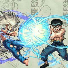 Yusuke Human and Mazoku Form Spirit Gun Art.