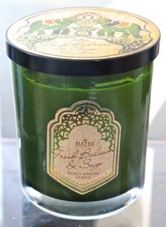 DW HOME CANDLE NEW FRESH BALSAM & SAGE HATHI GLASS JAR 2 WICK SAGE GREEN SOY WAX #DWHOMEINC
