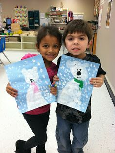 Kinder students created these adorable polar bears in art class in December. We practiced the circle shape first. Next we used white tempera paint to paint the polar bear and snow on the first day. The next day we used oil pastels to add the facial features and scarves. I absolutely love the way these turned out!!